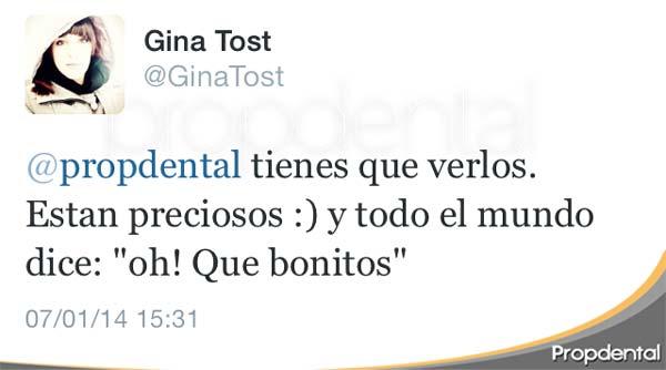 tweet de Gina Tost sobre sus dientes